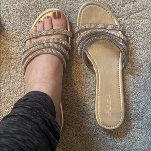 Sparkly Strap Silver Flat Sandals